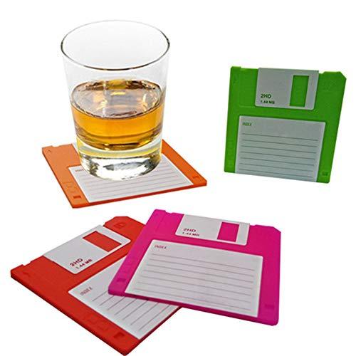 Juego de 6 posavasos de silicona estilo retro, para disquete, protección de mesa y evita daños en los muebles, duradero, resistente al calor, antideslizante, protege tus mesas.