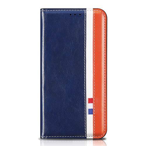 Ailisi Funda para Samsung Galaxy S7, Tricolor Carcasa Billetera de Cuero Flip Wallet Case, Magnético Cartera Casual de Moda Cover con 1 Ranura de Tarjeta -Azul+Blanco+Naranja