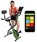 ShareVgo Bluetooth Smart Folding Semi Recumbent Magnetic Upright Exercise Bike with free APP for Indoor Bike Workout Log and Track, Backrest, Pulse Sensors and Tablet Holder - SXB1000