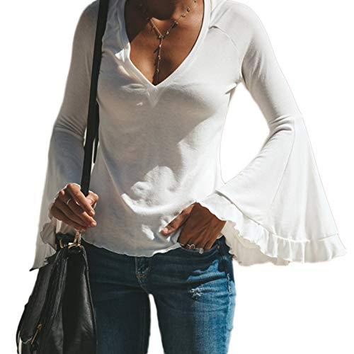 TOOGOO Camiseta de Tama?o Extra Grande Vintage de Manga Campana Sólido de V Cuello Profundo Delgado Flaco de Manga Larga de Mujer Chaqueta para Se?ora Blusa Femenina Sexy Blanco L