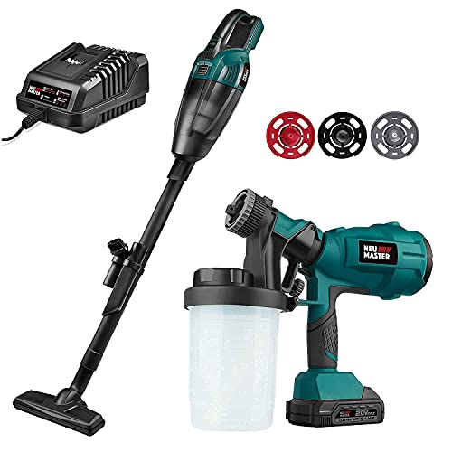 NEU MASTER Cordless Paint Sprayer with 3 Spray Patterns (2.0Ah Battery and Charger Included) and Cordless Vacuum Cleaner (Tool Only)