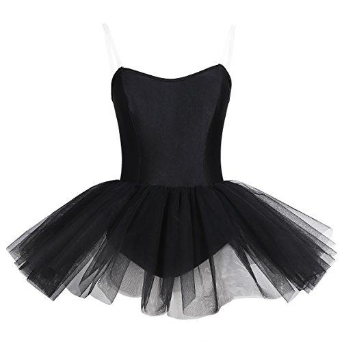 iEFiEL Ballettkleid Damen Ballett Trikot Ballettanzug Schwarz ärmellos Tanzkleid Ballett Kleider Ballettrock Schwarz X-Small