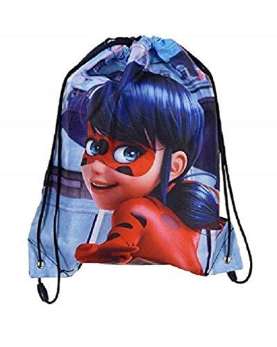 Suncity Bolsa de deporte/piscina/Gym Miraculous Lady Bug–Mochila cordón Ladybug impermeable–bolsillos de Gym Lady Bug para zapatos de viaje