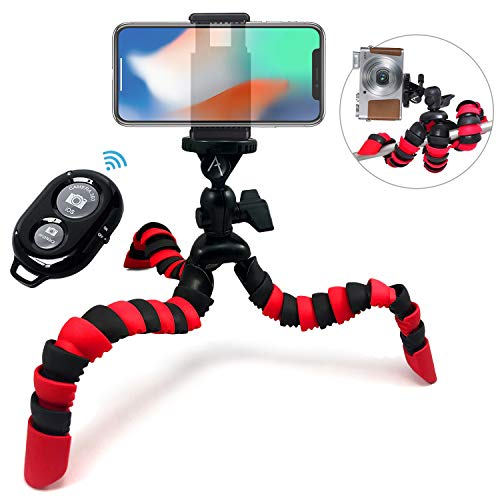 Acuvar 12' Inch Flexible Camera Tripod with Wrapable Disc Legs & Quick Release Plate + Universal Smartphone Mount + Wireless Remote Control for All Smartphones