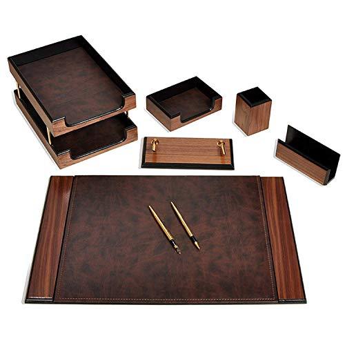 Luxuriöses Büro Schreibtisch Set 8 tlg Schreibunterlage mit doppelte Dokumentenablage aus Holz-Leder in 3 Farben, Farbe:Braun