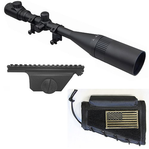 M1SURPLUS Optics Kit for M1A - Includes High Power 10-40x50 Illuminated Rifle Scope + Sun Shade + Flip-Up Lens Covers + Scope Rings + Black Cheekrest w/USA Flag Patch + Scope Mount for M1A Rifles