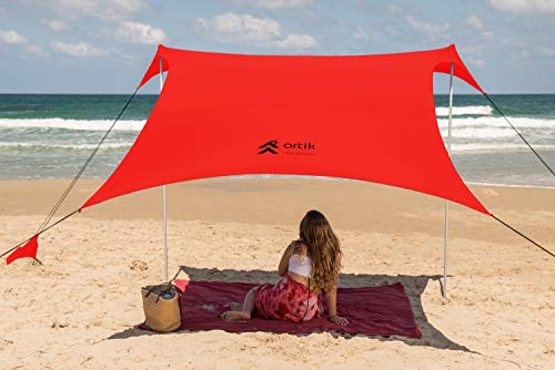 Pop Up Beach Tent Sun Shade for Camping Trips, Fishing, Backyard Fun or Picnics – Portable Canopy with Sandbag Anchors, Two Aluminum Poles & Carrying Bag - UPF50 UV Protection (Coral, Large)