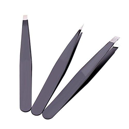 Roestvrij stalen pincet, precisie 3 Stks Flat Tip/Punt Tip/Slant Tip Wenkbrauw Gezichtshaar Verwijdering Zwart