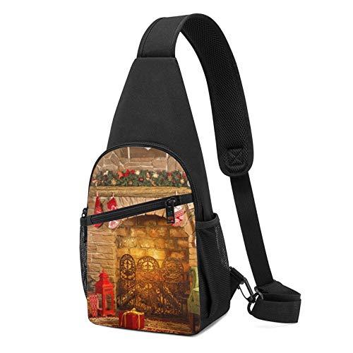 Rucksack mit weihnachtlichem Kamin-Motiv, leicht, Schulter-/Brust-Rucksack, Reise- und Wanderrucksack, Crossbody-Schultertasche, Schwarz - Schwarz - Größe: Einheitsgröße