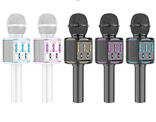 BlueFire Micrófono de karaoke inalámbrico Bluetooth con altavoz, micrófono portátil para adultos y niños, compatible con Android/iOS/PC (negro)
