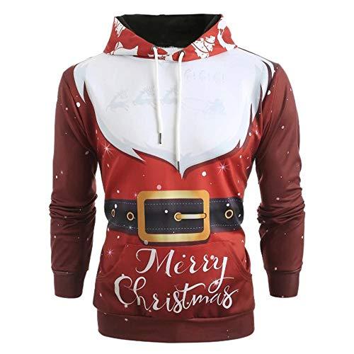 Clearance Men Christmas Pattern 3D Print Pullover Winter Long Sleeve Pockets Red Hoodie Caps Sweatshirt