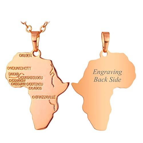 U7 Kette für Damen Herren personalisiert Afrikanische Landkarte Anhänger Halskette Rosegold vergoldet Karte von Afrika mit Rolokette Modeschmuck für Party Weihnachten