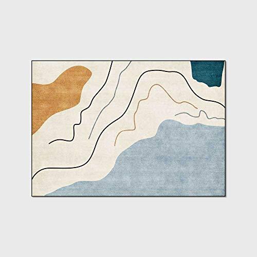 HJFGIRL Moderner Teppich Mode Einfache Teppiche Abstrakte Geometrische Linien Teppich Wohnzimmer Schlafzimmer Bettdecke Küche Badezimmer Bodenmatte,80x160cm(31x63inch)