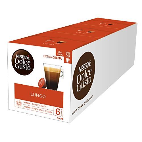 NESCAFÉ Dolce Gusto Lungo Kaffeekapseln (100 % edle Arabica Bohnen, Feine Crema und kräftiges Aroma, Schnelle Zubereitung, Aromaversiegelte Kapseln) 3er Pack Großpackung (3 x 30 Kapseln)