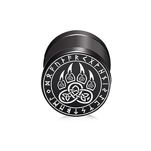 BlackAmazement Piercing falso de acero inoxidable 316L, diseño de lobo, germanos, vikingos, celtas, runas negras, 10 mm, para hombre y mujer