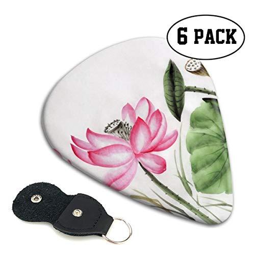 NOBRAND Gitaar Pick Aquarel Schilderij Van Roze Lotus Milieuvriendelijk ABS Materiaal, Verkrijgbaar in drie maten, Geschikt voor Gitaar, Ukulele, Etc, Inclusief 6-delige Set