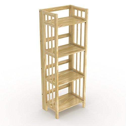 "Stony-Edge Folding Bookcase, Easy Assembly Bookshelf for Home Office Storage. 16"" Natural"