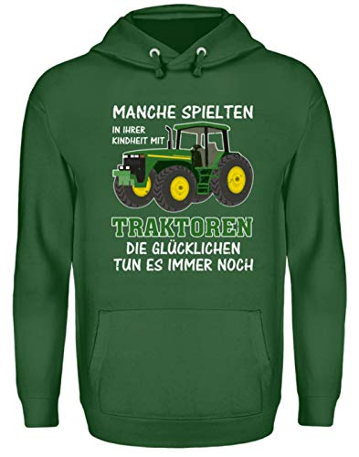 ALBASPIRIT Traktor Landwirt Kindheit Witziger Spruch Landwirtschaft Trecker Bauer Geschenk - Unisex Kapuzenpullover Hoodie -S-Dunkelgrün