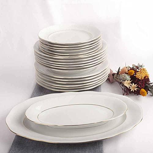 Franquihogar - Vajilla completa blanca con filo de oro para 6 personas - Set de 20 piezas   platos llanos + platos hondos + platos postre + Bandeja grande + Bandeja pequeña  Lubeck