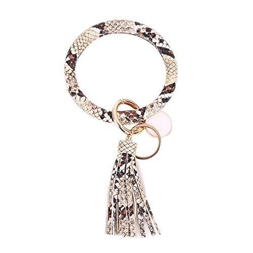 Kiwochy Schlüsselring Armband Schlüsselbund Quaste Armband Schlüsselanhänger Armreif Quast Kunstleder goldene Ringe & Schnellverschluss Modetrend Durchmesser 3.7 Zoll Schlangen Farbe