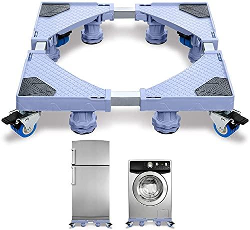 Froadp Soporte para lavadoras con zócalo ajustable para secadora, lavadora y frigorífico (45 – 75 cm), 8 pies + 4 ruedas