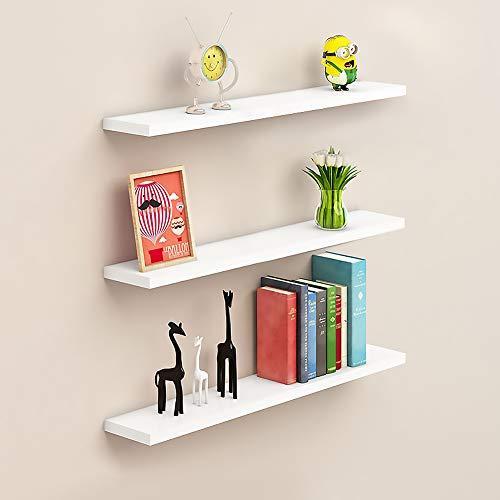 aimu - Set di 3 mensole galleggianti da parete, in legno, per la casa e la cucina, per la camera dei bambini, colore: bianco