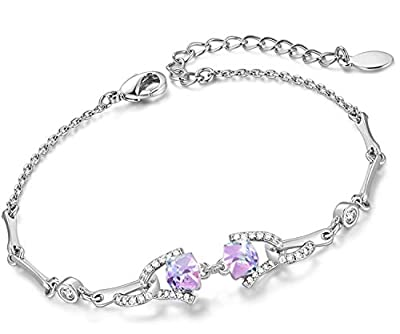 Bracelets for Women Charm Swarovski Crystals Jewelry Christmas Birthday Gifts for Her Fashion Thanksgiving Gift for Girls Purple with 1 Gift Box
