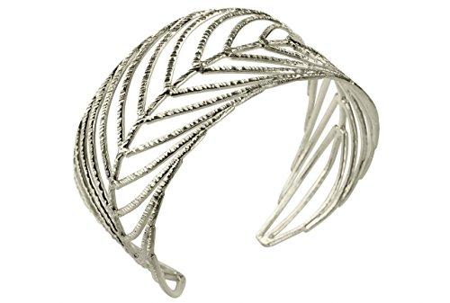 SILBERMOOS Exklusiver Damen Armreif Armspange im Natur-Design offen filigran Blatt Feder massiv 925 Sterling Silber