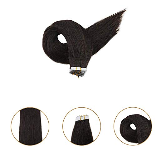 Full Shine 14 inch Best Quality Tape in Hair Extensions Color #2 Darkest Brown 10 Pcs 25gram Per Pack Tape Hair Extensions Straight Virgin Hair Remy Silky Human Hair Extensions