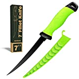 Fishing Fillet Knife 7 Inch, Professional Level Knives For Filleting Fish And Boning Meat, Sharp Stainless-Steel Non-Stick Coating Blade, Non-Slip Handles, Perfect For Freshwater And Saltwater Fish