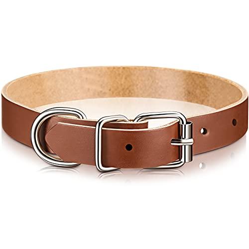 Collar de Perro de Cuero Collares de Mascotas de Cuero Acolchado Suave Collar de Cuero con Hebilla Ajustable Collar de Cuero de Vaca Duradero para Perros de Tamaño Pequeño Mediano, Marrón