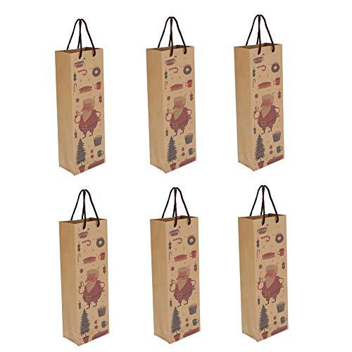 styleinside Sacchetti per bottiglie di vino in carta kraft con manici in corda, 6 pezzi