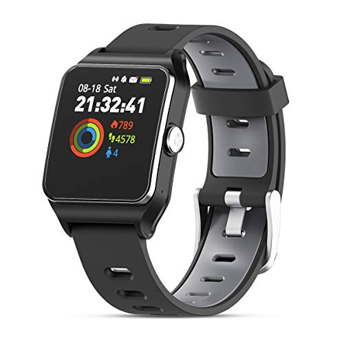 HolyHigh GPS Montre Connectée Montre Sport Podomètre Bluetooth Smartwatch IP68 Etache détection...