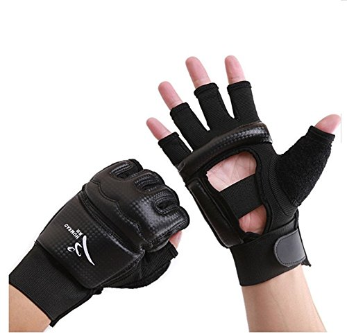 wonzone mitad Dedos Guantes, Taekwondo/Taekwondo formación boxeo Muay Thai Training/bolsa de boxeo gimnasio media manoplas guantes de boxeo negro, Negro