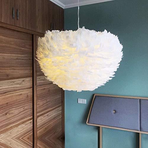 Pendelleuchte Feder Hängelampe Lampenschirm Mädche Schlafzimmerlampe Esstisch Hängeleuchte Modern Esszimmer Büro Kronleuchter Mode Schön Wohnzimmer Lampe Küche Leuchte 4-Flammig E27-Fassung,Weiß