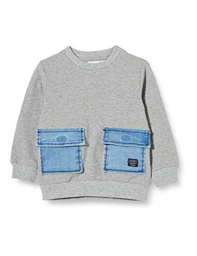NAME IT NMMBATAJ DNM 1340 LS O-Neck Sweat Sudadera, Mezclilla De Color Azul Claro, 92 cm para Niños