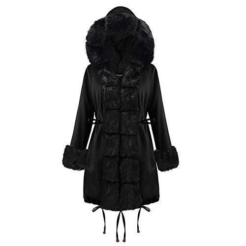 BIXUYAO Womens winterjas met capuchon/imitatiebont gevoerde warme jas Mid-length vrijetijdsjas