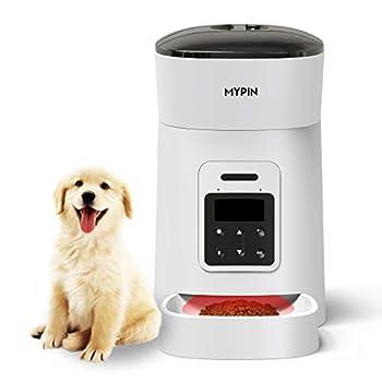 MYPIN Distributeur Chat Distributeur Chien Distributeur Automatique de Nourriture, Distributeur de croquettes Automatique pour Chien et Chat (Blanc)