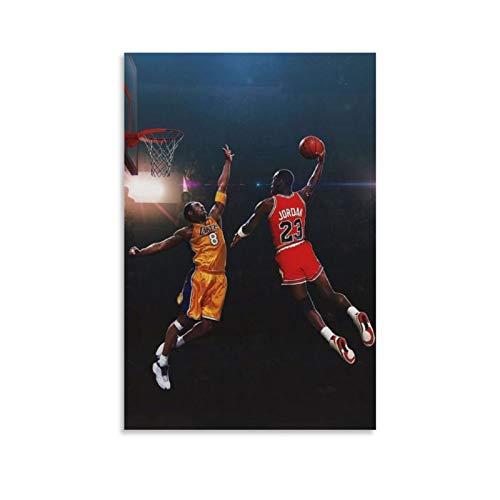 TINGTAI Poster Michael Jordan und Kobe Bryant Basketball Superstar Basketball Poster Dekorative Malerei Leinwand Wandkunst Wohnzimmer Poster Schlafzimmer Gemälde 50 x 75 cm