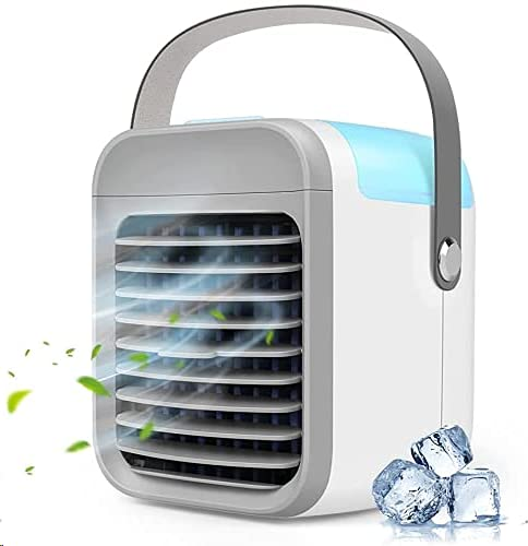 Portable Air Conditioner, 3-in-1Personal Mini Air Conditioner Fan,Rechargeable USB Evaporative Air Cooler With 3-Speed Mode LED Light,Desktop Quiet Swamp Cooler Humidifier for Home/Office/Camping