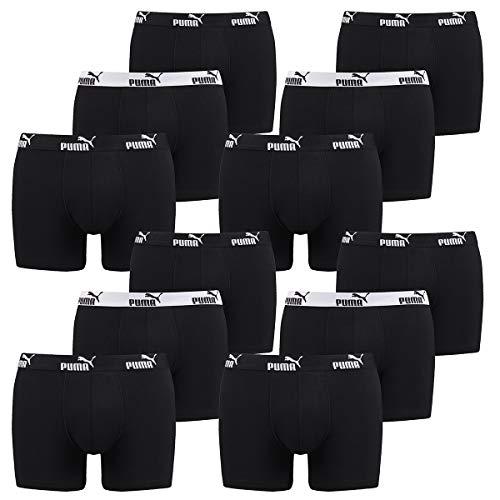 PUMA 12 er Pack Boxer Boxershorts Herren Unterwäsche sportliche Retro Pants, Farbe:200 - Black, Bekleidungsgröße:M