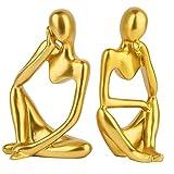 Pensador Moderno de Resina Estatuas, XiXiRan 2 Piezas Figura de Pensador Artístico, Estatua de Pensador Abstracto, Adornos de Figura de Estilo Pensador, para Estanterías de Casa, Oficina, Decoración
