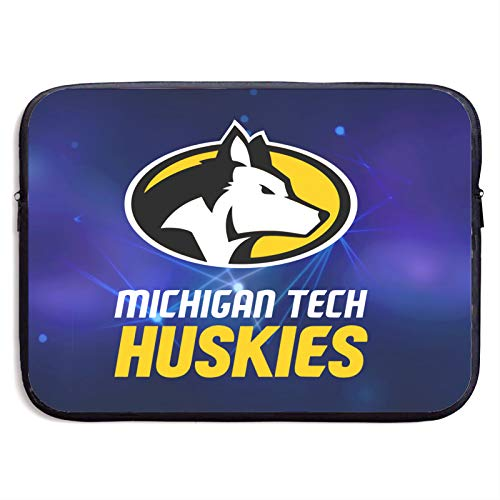 Michigan Tech Huskies Laptop Sleeve Bag Protective Bag Water-Resistant Neoprene Notebook Computer Pocket Tablet Briefcase Carrying Bag/Pouch Skin Cover for Laptops 15 inch