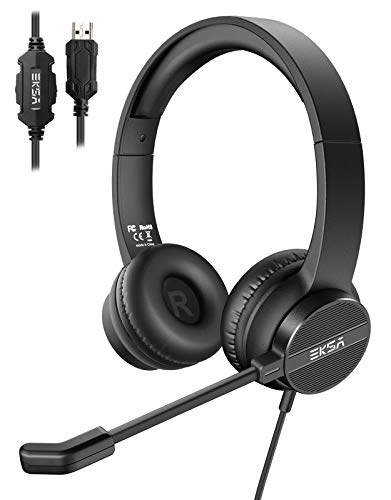 EKSA Headset with Microphone for Laptop, USB Environmental Noise Cancelling Headset, Adjustable Mic Boom, All-Day Comfort On Ear Computer Headphone for Home Office Call Center Skype Zoom