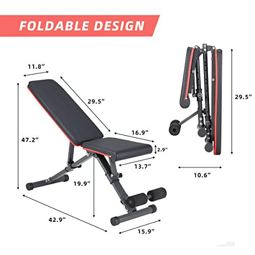 YOLENY Weight Bench, Adjustable Strength Training Benches for Full Body Workout,Folding Gym Bench with 15 Positions, for Home Gym