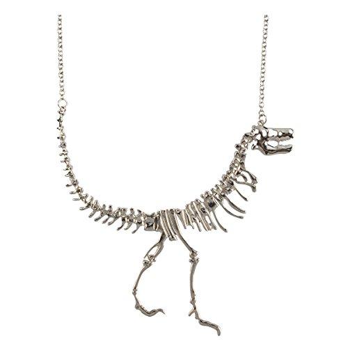 Jane Stone Color Silver Dinosaur Vintage Necklace Short Statement (Fn1415-Silver)