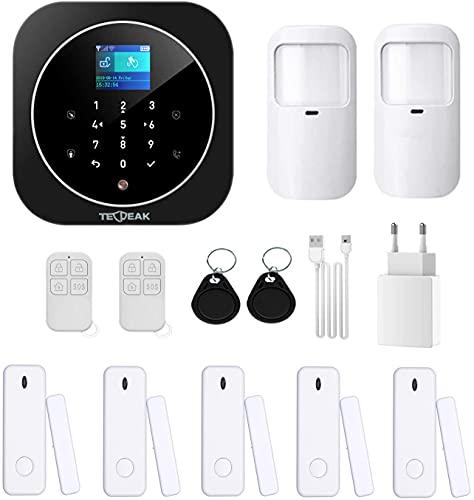 TecPeak - Sistema de alarma doméstica sin cables, kit de alarma WiFi/GSM con seguridad sirena que proporciona un modo altamente eficaz para proteger tu hogar y oficina (A1 negro).
