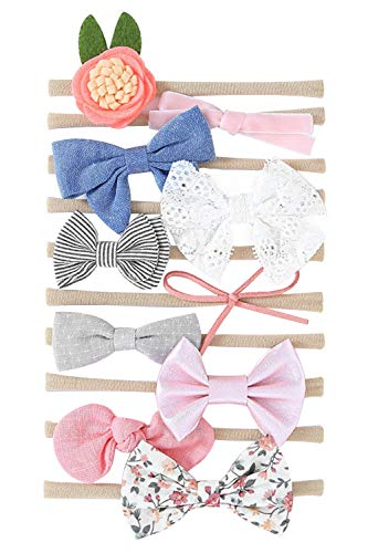 Hocaies Vendas del bebé Hairband de los bebés recién Nacidos Diademas de bebé anchas con lazo Diadema Elástica Niñas Banda Para Cabeza Bebe Accesorio Bebe Niñas Recien Nacida (10 Piezas - A)