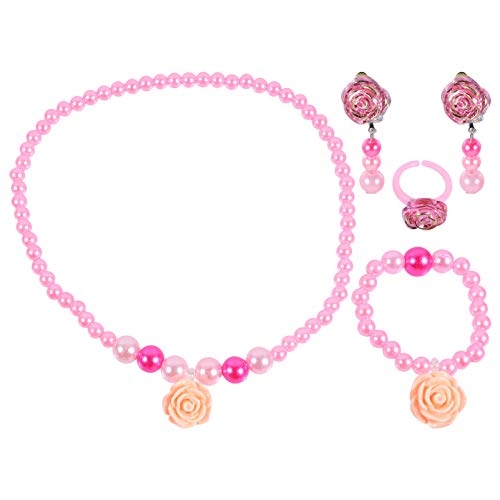 KESYOO Kids Jewelry Set Unicorn Pendant Pearl Necklace Bracelet Heart Dangle Earrings Finger Ring Acrylic Kids Jewelries Toys Birthday Party Favors for Children Girls (Pink)