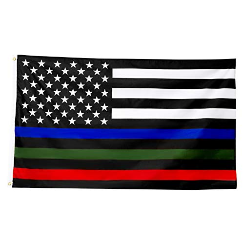 Thin Blue Red and Green Line Flags 3 X 5 Ft Outdoor Vivid Color and Double Stitched Blue Green Red Line Flags Police Military and Fire Flags with Brass Grommets